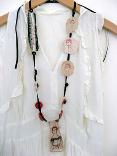 poets long necklace - separate embroidered elements, combining fabrics with paper and stitch, joined together ...