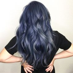 60 New Hair Color Trends for 2018 Dimensional metallic blue by Kimemily Pham Blue Grey Hair, Grey Ombre Hair, Ombre Hair Color, Cool Hair Color, Blue Hair Colors, Smokey Blue Hair, Dyed Hair Blue, Lilac Hair, Purple Gray