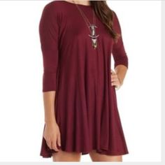 shift dress 3/4 sleeved shift dress. Love this dress with wedges on a warm summer night or with knee high boots in the winter for date night or a night out with friends. Dress ends mid thigh. Pair with leggings in chillier weather or with a fur vest over top! Dresses Long Sleeve