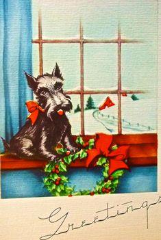 Roaring vintage Christmas card stockpile - Michael makes a big find - Retro Renovation Old Time Christmas, Christmas Puppy, Christmas Windows, Merry Christmas, Vintage Cards, Vintage Postcards, Vintage Images, Retro Illustration, Illustrations