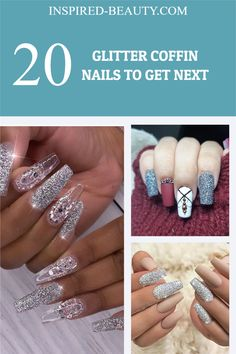 Glitter Nails, Gel Nails, Acrylic Nails, Manicure, Coffin Shape Nails, Nail Art Galleries, Shapes, Stylish, Inspiration