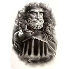 Zeus temple Waterproof Temporary Tattoo sticker Greek the king of gods Fake Tattoo body art Henna Tatoo sleev harajuku men
