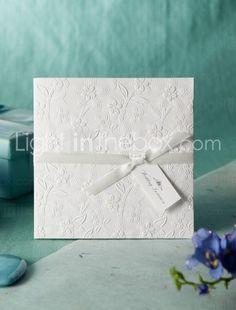 White Embossed Spring Flowers Wedding Invitation so simple and just right. Weddings #WeddingInvitations