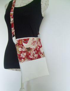 Sac à bandoulière en simili cuir blanc et coton japonais : Sacs bandoulière par couleur-boheme