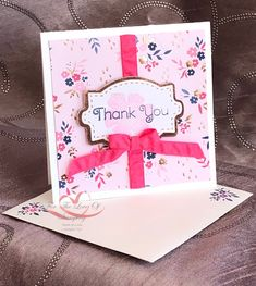 Everything is Rosy Created by Tracie St-Louis 2019 On Stage Quebec 3 x 3 that goes with the mini pizza box Everything's Rosie, Handmade Thank You Cards, Ribbon Bows, Ribbons, Card Kit, Homemade Cards, Stampin Up Cards, Card Making, Paper Crafts