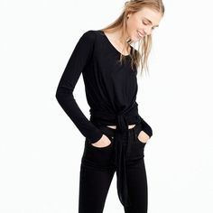 Tie-front long-sleeve T-shirt. Love Love this top!! Perfect for my black fashion obsession. Women fashion, Jcrew fashion. Wearing black. Black tshirts. |Elements of Alicea| Lifestyle Blog/ Beauty and fashon #affiliate