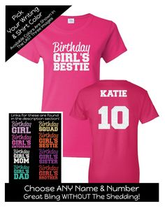 Impact Birthday Girl's Bestie - Personalize the Name, Age and Colors - Birthday Party Matching Shirts by MagicalMemoriesbyJ on Etsy 12th Birthday Girls, Happy 12th Birthday, 13 Birthday, 13th Birthday Parties, Baby Girl Birthday, Sister Birthday, Birthday Ideas, Birthday Squad Shirts, Family Birthday Shirts