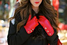 Red studded gloves! Add a matching red handbag and you are good to go!