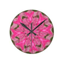 Abstract Tulips Round Wallclocks #zazzle #clock #abstract #pink #tulips