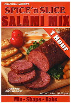 SALAMI MIX Simply mix one packet of our premium seasoning blend with cup of water, stir in two pounds of ground meat of your choice (beef, poultry or game meat), shape into logs and bake for one hour at A little spicier with a hint of garlic! Summer Sausage, Ground Meat, Sausage Breakfast, Seasoning Mixes, Poultry, Spicy, Beef, Baking, Logs