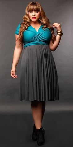 I'm a fan of dresses that nip in the waist for plus size girls. You don't see it enough, sadly.