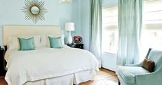 master bedroom or latte drapes seafoam green blue lends a bedroom cool ...