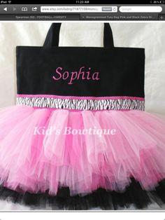 dc37177f9cb5c5 Monogrammed Tutu Bag - Pink and Black Zebra Ribbon Trim Dance Tutu Tote Bag