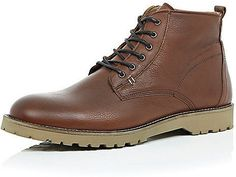 $130, River Island Brown Leather Rustic Boots. Sold by River Island. Click for more info: https://lookastic.com/men/shop_items/343117/redirect