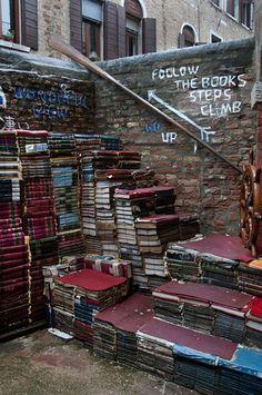 Libreria Acqua Alta, Venice, Italy.Image credit griffinireland. #Bookstore #Venice