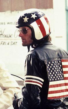 Jacket and helmet similar to Antony's motorcycle hear in the novel (Peter Fonda, Easy Rider, 1969)