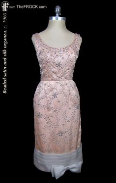 Vintage 1950s / 1960s beaded satin cocktail dress. (While the garment is available, details and more photos are found on our website at www.thefrock.com )