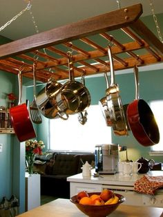 49 best hanging pot racks images kitchen organization kitchen rh pinterest com