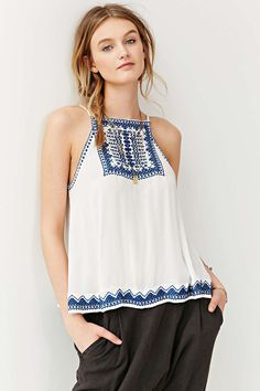 Ecote Bali Embroidered Tank Top - Urban Outfitters
