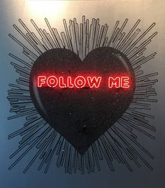 "Rubem Robierb ""Red Follow me@"" Black Heart on Silver, 2015"