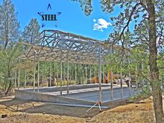 metal barn frame - concrete stem wall - low cost metal barn - call for a quote Steel Barns, Steel Fabrication, Metal Barn, Iron Steel, Building Systems, Construction Design, Steel Buildings, Cover Design, Concrete