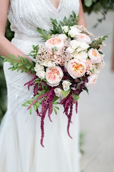 Park Hyatt Aviara Resort Wedding Beaded Bridal Gown with Garden Roses Bouquet of Flowers and burgundy drooping flowers