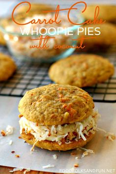 Carrot Cake Whoopie Pies Recipe with Coconut | www.foodfolksandfun.net | #SpringEats #EasterEats #Spring