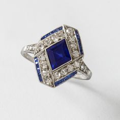 Art Deco Diamond and Sapphire Ring.  Available exclusively at Macklowe Gallery.