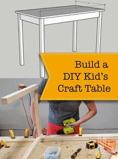 Have the kids taken over your kitchen table or island? Need somewhere to let the kids get creative? Today I am going to show you how to make a simple DIY kid's craft table (or desk). | Pretty Handy Girl | #prettyhandygirl #kidscrafttable #kidstable #diykidstable #diycrafttable #creativecorner #freeplans #freetutorial #woodworkingplans #homeschool