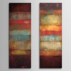 Handgeschilderde+AbstractKlassiek+/+Realisme+Twee+panelen+Canvas+Hang-geschilderd+olieverfschilderij+For+Huisdecoratie+–+EUR+€+76.43