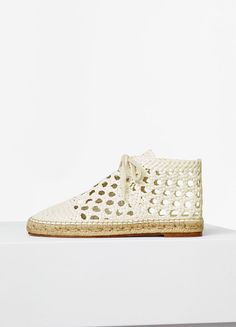 Espadrille Lace Up Shoe in Cream Woven Kidskin - Céline