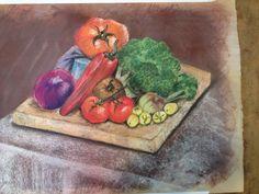 Broccoli still-life pastel on high rag paper