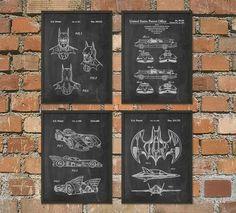 Batman Patent Prints Set Of 4 - Batman Poster - Batmobile Print - Batwing Poster - Batman Mask Patent - Batman Superhero Movie Posters by QuantumPrints on Etsy https://www.etsy.com/listing/186300763/batman-patent-prints-set-of-4-batman