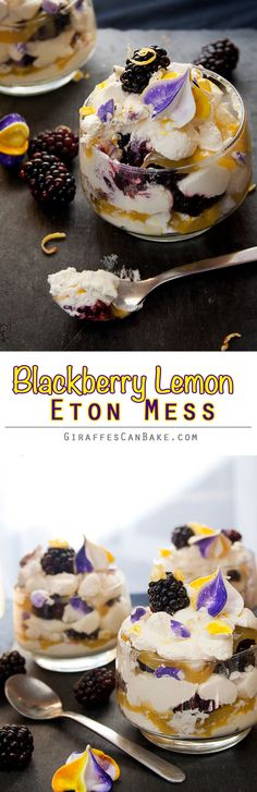Blackberry & Lemon Eton Mess - Layers of fresh whipped lemon cream, meringue pieces, lemon curd and fresh blackberries, a traditional English dessert given an Fall makeover! Make the meringue and curd in advance and you can put this dessert together in minutes!