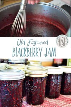 Blackberry Jam * Blackberry Jam* Watch and learn the process of making this yummy, no pectin needed, jam process.* Blackberry Jam* Watch and learn the process of making this yummy, no pectin needed, jam process. Blackberry Jam Recipes, Homemade Blackberry Jam, Blackberry Jam No Pectin, Blackberry Freezer Jam, Blackberry Dumplings, Blackberry Scones, Blackberry Crisp, Blackberry Dessert, Blackberry Margarita