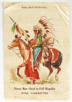 Sioux Native American War Chief in Full Regalia Tobacco Premium - from ctyankeeantiques on Ruby Lane