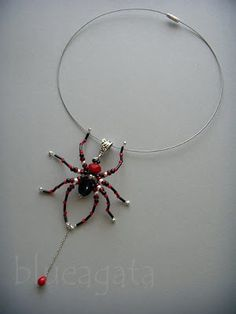 Arachno Fanaberija - bead spider necklace in black, red & silver color