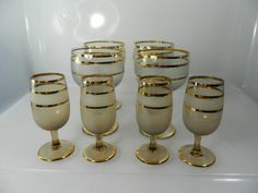 Vintage Mad Men Gold Striped Cordial and Shot by 3sisterstreasures, $36.99