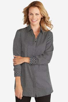 No Iron Dotted Tunic - Wovens   Coldwater Creek