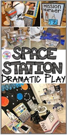 How to make your center into a space station and add math, literacy, and STEM into their play. For preschool, pre-k, and kindergarten. images Space Station Dramatic Play - Pocket of Preschool Dramatic Play Themes, Dramatic Play Area, Dramatic Play Centers, Preschool Dramatic Play, Camping Dramatic Play, Space Activities For Kids, Space Theme Preschool, Preschool Activities, Summer Activities