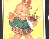 Girl comic postcard by Beatrice Mallet scottish humor kilt - double meaning