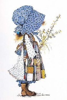 Holly Hobbie's characteristic: usually seen in blue patchwork dress