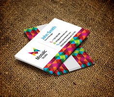 Mosaic Studio Business Card by Arslan Ali -- Really like the pop of color, makes these cards stand out without being obnoxious