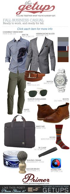 \\[shirt, belt to match shoes, color spectrum] The Getup: Fall Business Casual - Primer// I wish I had money to buy clothes XD Business Casual Men, Business Attire, Business Formal, Business Fashion, Look Fashion, Autumn Fashion, Mens Fashion, Fashion Trends, Men Accessories