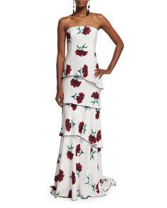 W0ARA Oscar de la Renta Strapless Carnation-Print Silk Gown, Ruby