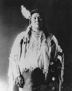 Nez Perce Chief Joseph (aka Joseph II, 1840-1904) in buckskin shirt. Photo by M. Sawyer Wells, 1897.