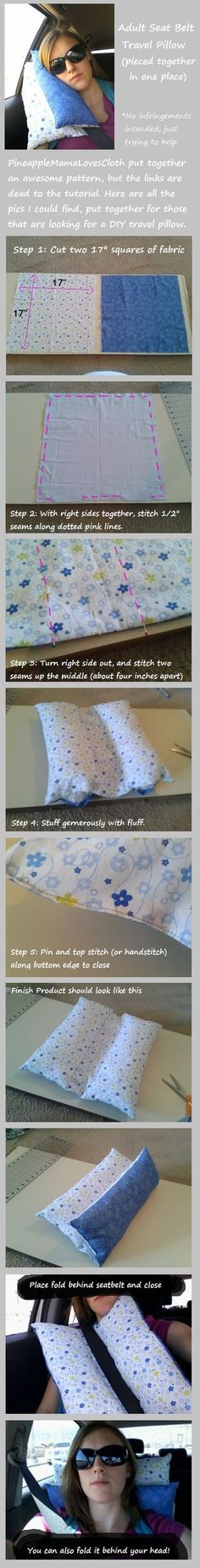 DIY Adult Seat Belt Travel Pillow Tutorial (by Pineapple Mama) | Easy instructions for car seatbelt pillow: