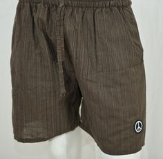 100% Cotton, Brown Pinstripe Yoga Shorts.  thepeacestore.net