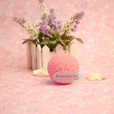 Pink Ball Shaped Wedding Candle:)
