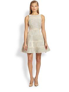 Tibi - Mixed Stitched-Stripe Flared Dress - Saks.com